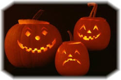 Smiling and Sad Jack o'-Lanterns - © corbis